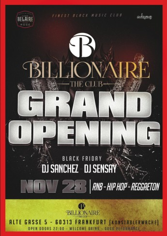 28112014 Black Friday Grand Opening Billionaire The Club