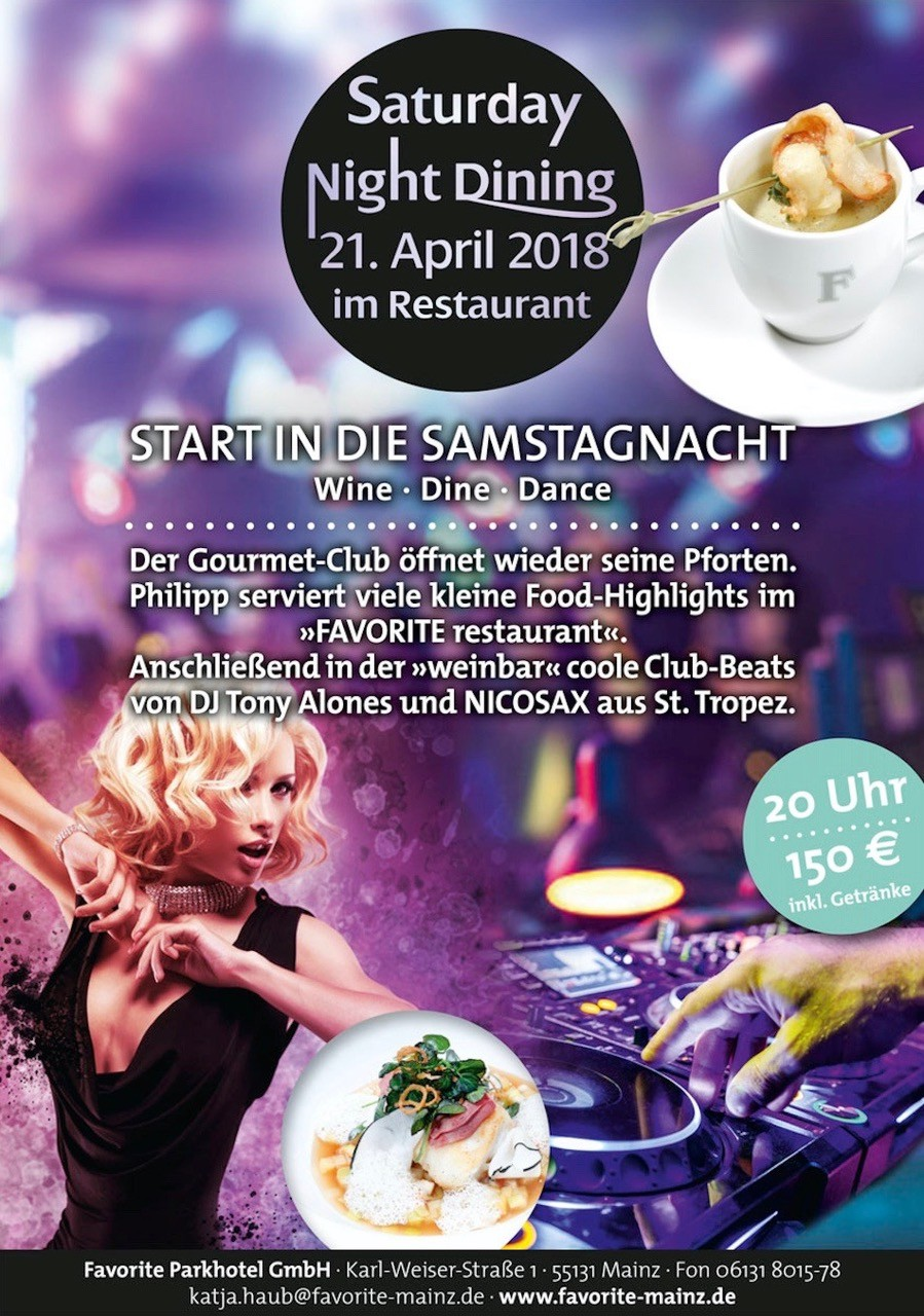 21.04.2018 - Saturday Night Dining @ Favorite Parhkotel Mainz ...