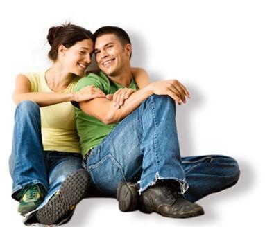 Eheaar, Frau, Mann, glücklich, sitzend