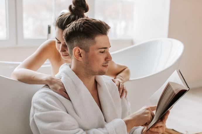 Badewanne, Paar, gemeinsame Zeit