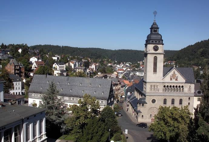 Kirche, Bad Schwalbach,Stadt, Überblick, Bäume, Häuer, Dächer