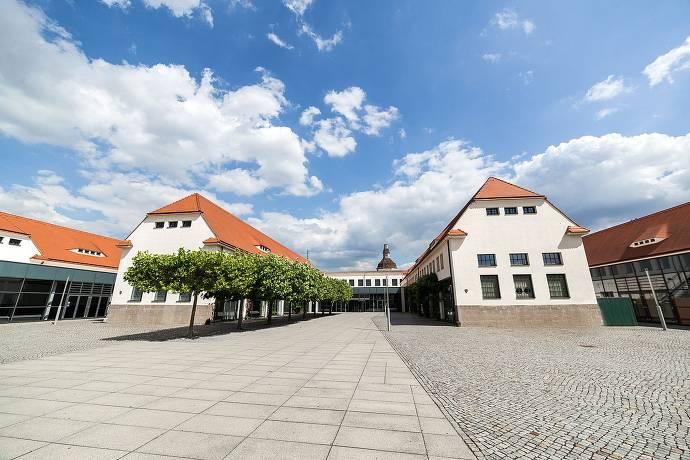 Messe Dresden, Innenhof, Gebäude, Messegelände