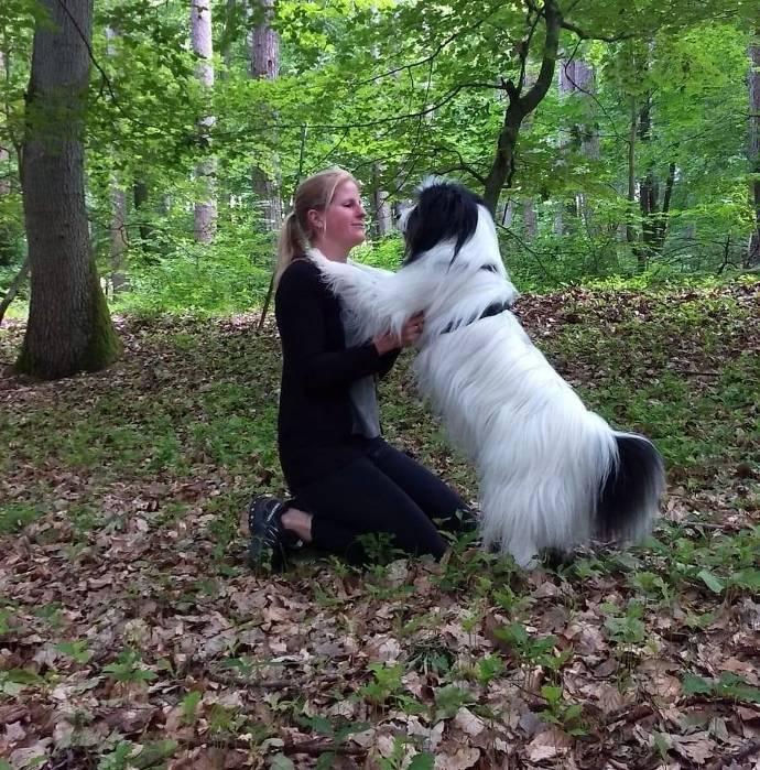 Frau mit Hund , umarmung
