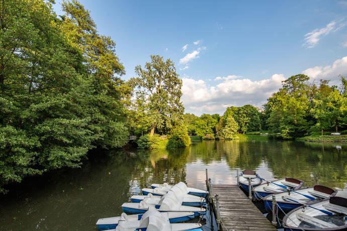 Kurpark, Bootsverleih, Brunnen, Natur, Wiesbaden