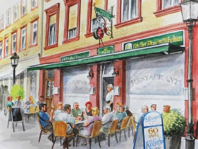 Zeichnung, Eltville, Restaurant, Essen, Getränke, Rheingau