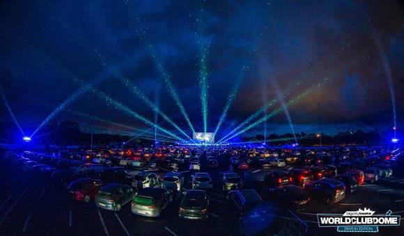 Autokino,Lasershow, Bühne, Autos