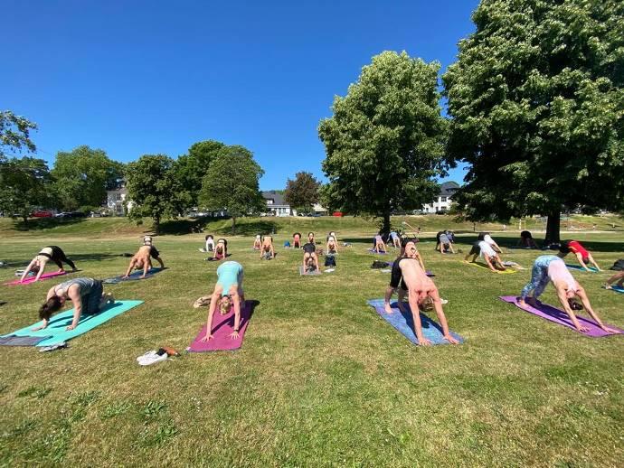 Yoga, Rhein, Natur, Gruppe, Training
