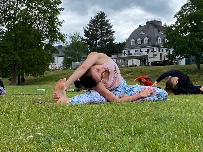 Stellung, Yoga, Frau, Training, Natur