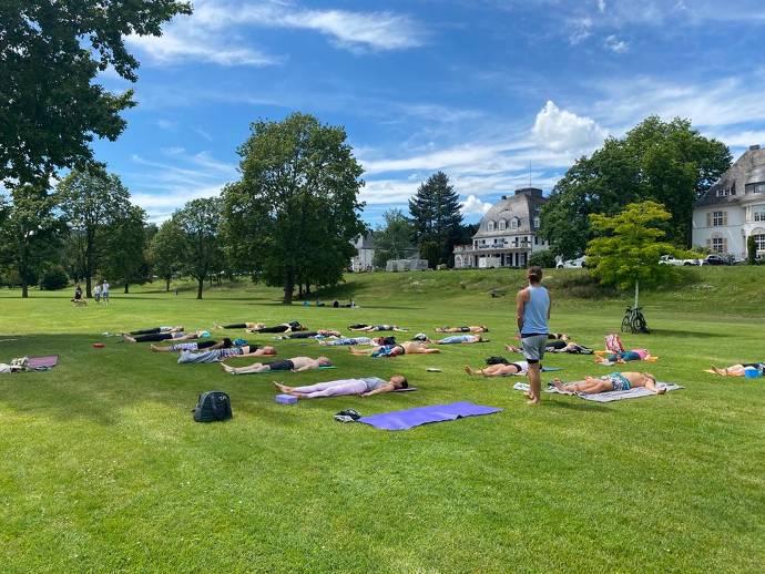 Yoga, Natur, Gruppe, Training