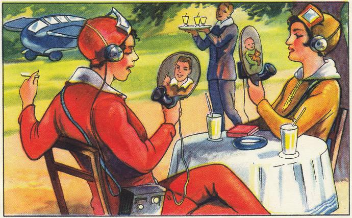 Back To Future, Sammelbildchen, Zukunftsfantasien, Bildtelefon