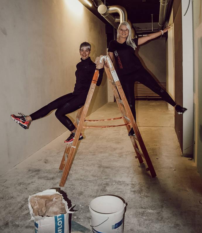 Zwei Frauen, Leiter, Renovierung, Baumaterial