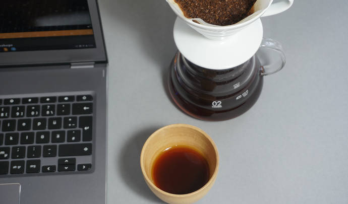 Laptop, Kaffeebecher, Cupping