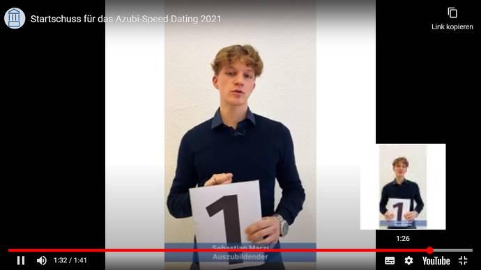 Screenshot Speed-Dating-Clip mit Azubi Sebastian Marzi