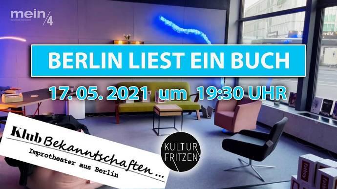 Berlin liest ein Buch, Flyer Raum mit Couch, Tisch und Stühlen