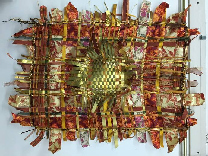 """Lin Maslow, """"Gold & copper wall piece"""""""