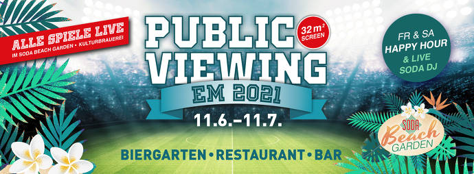 Flyer, Fußball Europameisterschaft, Strand, Palmen, Blumen, Public Viewing