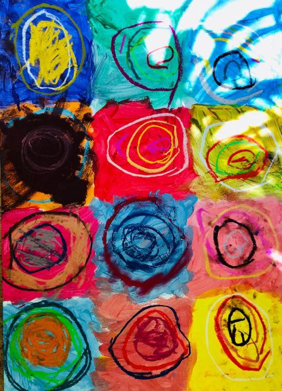 bunte Farbe, Kreise, Punkte, Kunst