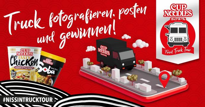 Flyer, rot, Cup Noodles, schwarzer Truck