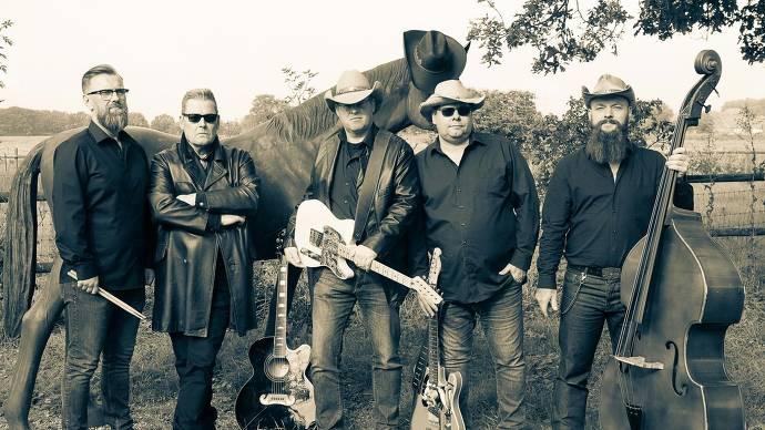 Band, schwarz, weiß, Instrumente, Gitarre, Bass, Country