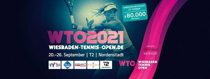 Key Visual WTO 2021, Frau mit Tennisschläger