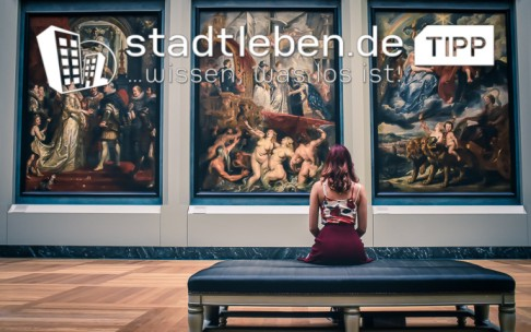 Museum, Frau, Gemälde, Raum, Wand