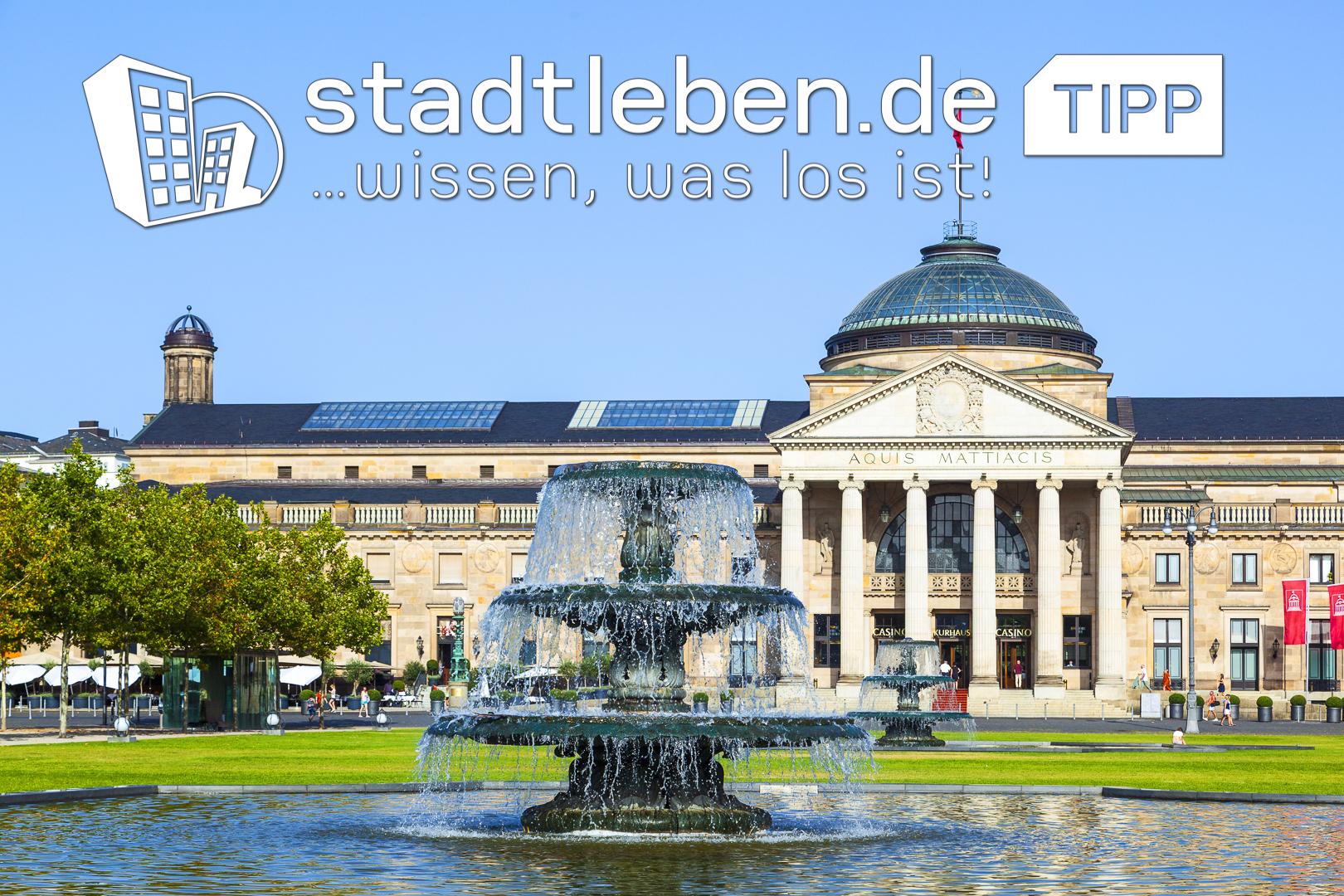 Brunnen, Park, Wiesbaden, Kurhaus, Casino