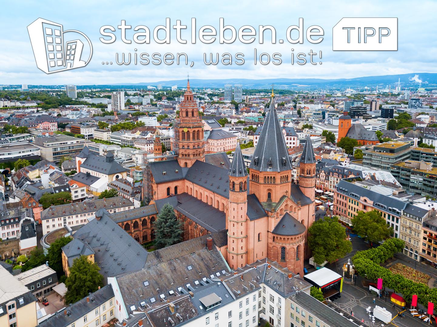Mainz, Dom, Stadt, Häuser, Gebäude, Bäume, Himmel,Straßen