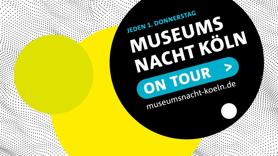 Keyvisual Museumsnacht on Tour Köln, schwarz, weiß, gelb
