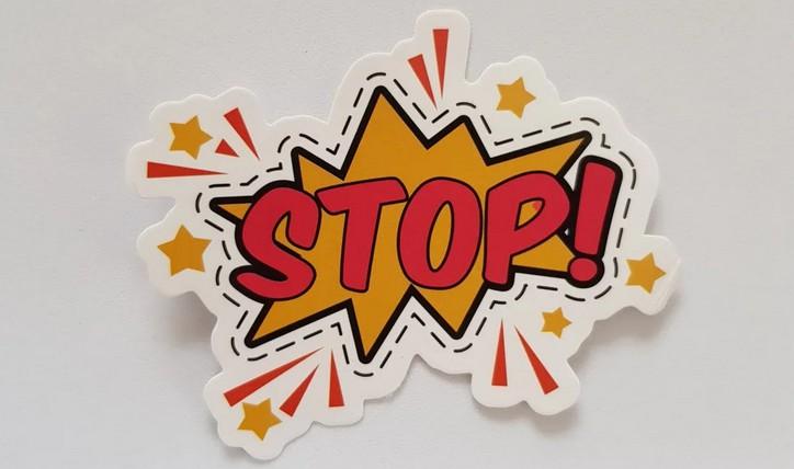 Stop, Patch, Ausrufezeichen, Fragezeichen