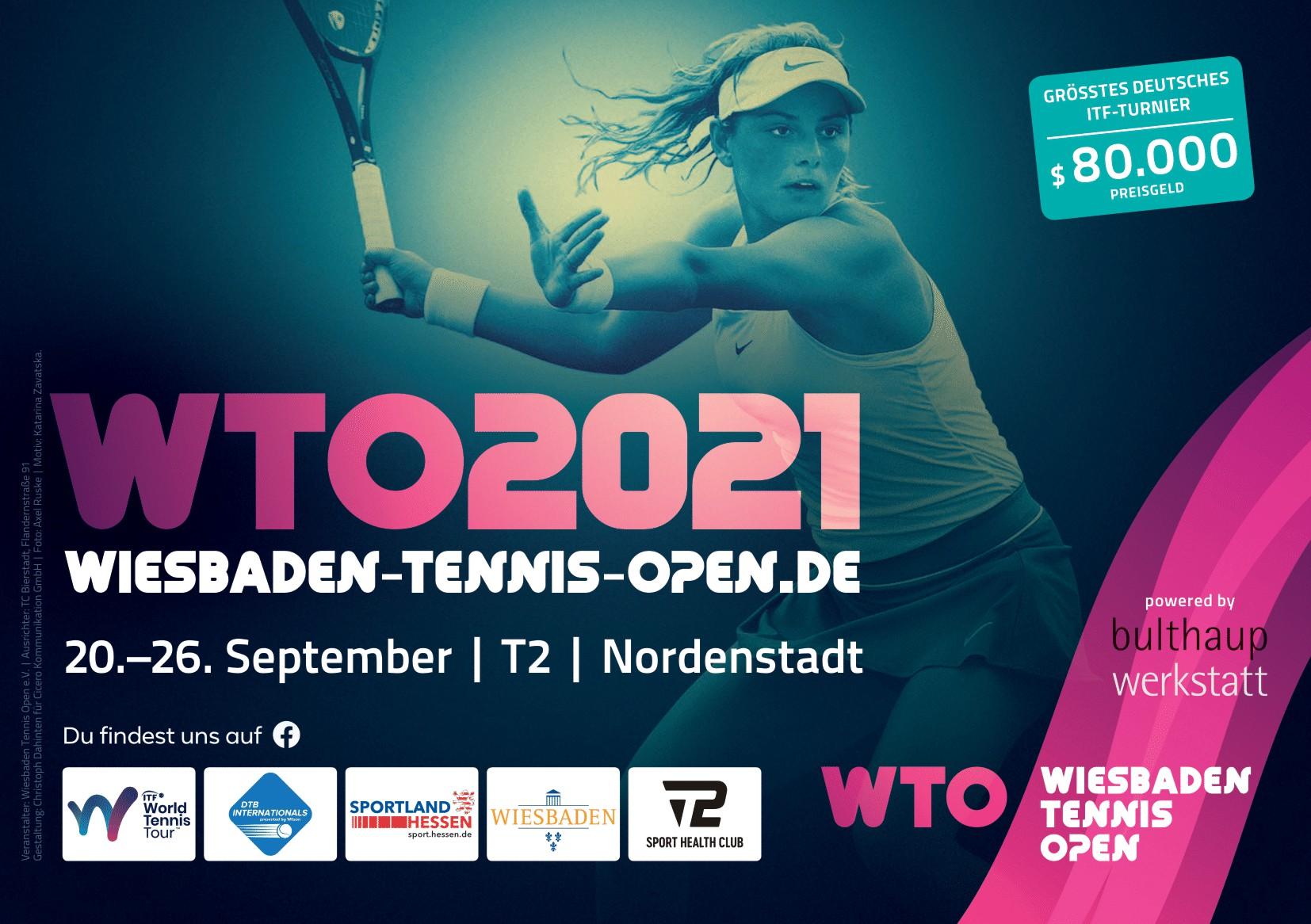 Wiesbaden Tennis Open, Keyvisual, Frau, die Tennis spielt